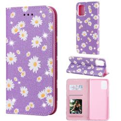 Ultra Slim Daisy Sparkle Glitter Powder Magnetic Leather Wallet Case for Samsung Galaxy A71 4G - Purple