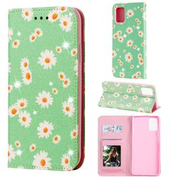 Ultra Slim Daisy Sparkle Glitter Powder Magnetic Leather Wallet Case for Samsung Galaxy A71 4G - Green