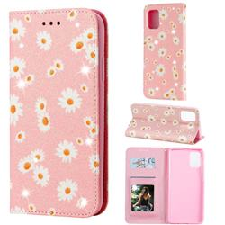Ultra Slim Daisy Sparkle Glitter Powder Magnetic Leather Wallet Case for Samsung Galaxy A71 4G - Pink
