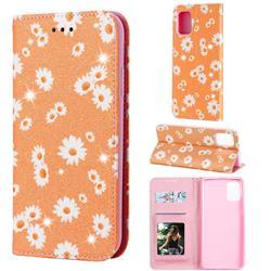 Ultra Slim Daisy Sparkle Glitter Powder Magnetic Leather Wallet Case for Samsung Galaxy A71 4G - Orange