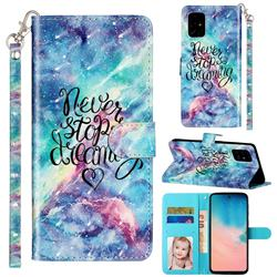Blue Starry Sky 3D Leather Phone Holster Wallet Case for Samsung Galaxy A71 4G