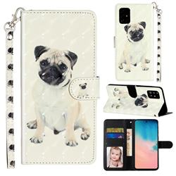 Pug Dog 3D Leather Phone Holster Wallet Case for Samsung Galaxy A71 4G