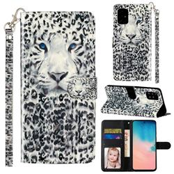 White Leopard 3D Leather Phone Holster Wallet Case for Samsung Galaxy A71 4G