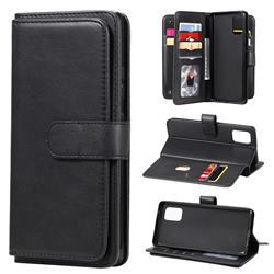 Multi-function Ten Card Slots and Photo Frame PU Leather Wallet Phone Case Cover for Samsung Galaxy A71 4G - Black