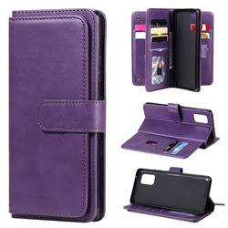 Multi-function Ten Card Slots and Photo Frame PU Leather Wallet Phone Case Cover for Samsung Galaxy A71 4G - Violet