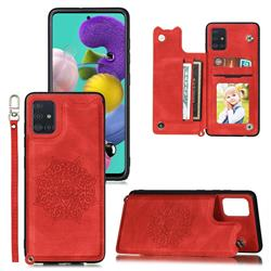 Luxury Mandala Multi-function Magnetic Card Slots Stand Leather Back Cover for Samsung Galaxy A71 4G - Red