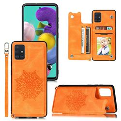 Luxury Mandala Multi-function Magnetic Card Slots Stand Leather Back Cover for Samsung Galaxy A71 - Yellow