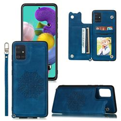 Luxury Mandala Multi-function Magnetic Card Slots Stand Leather Back Cover for Samsung Galaxy A71 4G - Blue