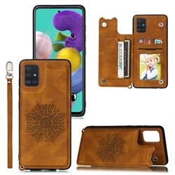 Luxury Mandala Multi-function Magnetic Card Slots Stand Leather Back Cover for Samsung Galaxy A71 - Brown