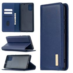 Binfen Color BF06 Luxury Classic Genuine Leather Detachable Magnet Holster Cover for Samsung Galaxy A71 4G - Blue