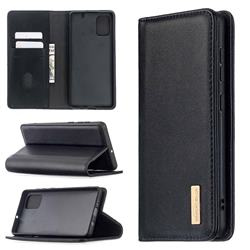 Binfen Color BF06 Luxury Classic Genuine Leather Detachable Magnet Holster Cover for Samsung Galaxy A71 4G - Black