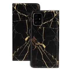 Black Gold Marble PU Leather Wallet Case for Samsung Galaxy A71