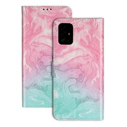 Pink Green Marble PU Leather Wallet Case for Samsung Galaxy A71 4G