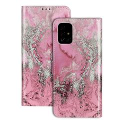 Glittering Rose Gold PU Leather Wallet Case for Samsung Galaxy A71