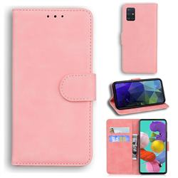 Retro Classic Skin Feel Leather Wallet Phone Case for Samsung Galaxy A71 4G - Pink