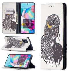 Girl with Long Hair Slim Magnetic Attraction Wallet Flip Cover for Samsung Galaxy A71 4G