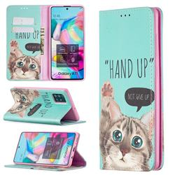 Hand Up Cat Slim Magnetic Attraction Wallet Flip Cover for Samsung Galaxy A71 4G