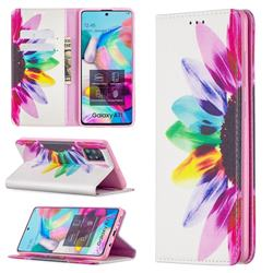 Sun Flower Slim Magnetic Attraction Wallet Flip Cover for Samsung Galaxy A71 4G