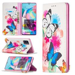 Flying Butterflies Slim Magnetic Attraction Wallet Flip Cover for Samsung Galaxy A71 4G