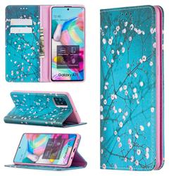 Plum Blossom Slim Magnetic Attraction Wallet Flip Cover for Samsung Galaxy A71 4G
