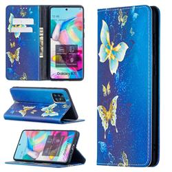 Gold Butterfly Slim Magnetic Attraction Wallet Flip Cover for Samsung Galaxy A71 4G