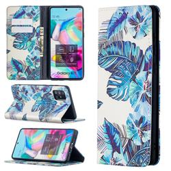 Blue Leaf Slim Magnetic Attraction Wallet Flip Cover for Samsung Galaxy A71 4G