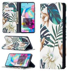 Flower Leaf Slim Magnetic Attraction Wallet Flip Cover for Samsung Galaxy A71 4G