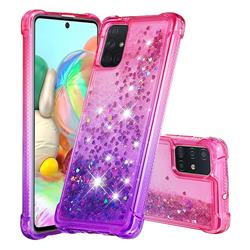 Rainbow Gradient Liquid Glitter Quicksand Sequins Phone Case for Samsung Galaxy A71 4G - Pink Purple