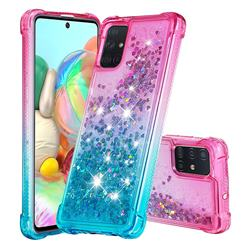 Rainbow Gradient Liquid Glitter Quicksand Sequins Phone Case for Samsung Galaxy A71 4G - Pink Blue