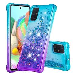 Rainbow Gradient Liquid Glitter Quicksand Sequins Phone Case for Samsung Galaxy A71 4G - Blue Purple
