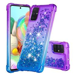 Rainbow Gradient Liquid Glitter Quicksand Sequins Phone Case for Samsung Galaxy A71 4G - Purple Blue