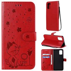 Embossing Bee and Cat Leather Wallet Case for Samsung Galaxy A71 4G - Red