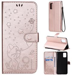 Embossing Bee and Cat Leather Wallet Case for Samsung Galaxy A71 4G - Rose Gold
