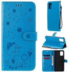 Embossing Bee and Cat Leather Wallet Case for Samsung Galaxy A71 4G - Blue