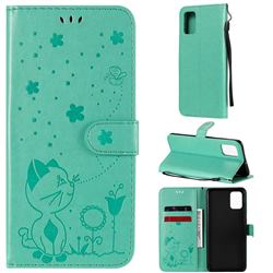Embossing Bee and Cat Leather Wallet Case for Samsung Galaxy A71 4G - Green