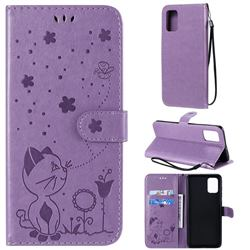 Embossing Bee and Cat Leather Wallet Case for Samsung Galaxy A71 4G - Purple