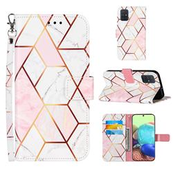 Pink White Stitching Color Marble Leather Wallet Case for Samsung Galaxy A71 4G