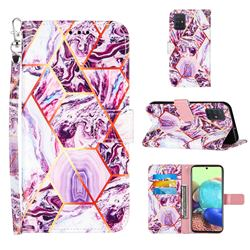 Dream Purple Stitching Color Marble Leather Wallet Case for Samsung Galaxy A71 4G