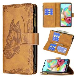 Binfen Color Imprint Vivid Butterfly Buckle Zipper Multi-function Leather Phone Wallet for Samsung Galaxy A71 4G - Brown