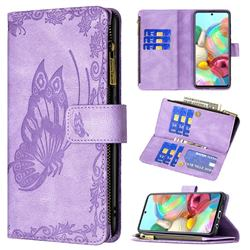 Binfen Color Imprint Vivid Butterfly Buckle Zipper Multi-function Leather Phone Wallet for Samsung Galaxy A71 4G - Purple