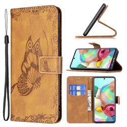 Binfen Color Imprint Vivid Butterfly Leather Wallet Case for Samsung Galaxy A71 4G - Brown