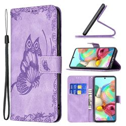 Binfen Color Imprint Vivid Butterfly Leather Wallet Case for Samsung Galaxy A71 4G - Purple