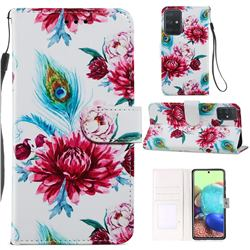 Peacock Flower Smooth Leather Phone Wallet Case for Samsung Galaxy A71 4G