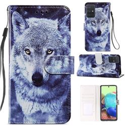 White Wolf Smooth Leather Phone Wallet Case for Samsung Galaxy A71 4G