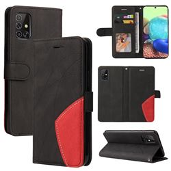 Luxury Two-color Stitching Leather Wallet Case Cover for Samsung Galaxy A71 4G - Black