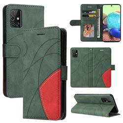 Luxury Two-color Stitching Leather Wallet Case Cover for Samsung Galaxy A71 4G - Green