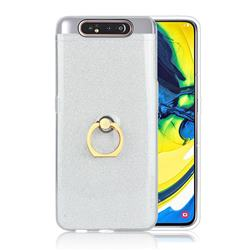 Luxury Soft TPU Glitter Back Ring Cover with 360 Rotate Finger Holder Buckle for Samsung Galaxy A80 A90 - White