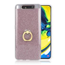 Luxury Soft TPU Glitter Back Ring Cover with 360 Rotate Finger Holder Buckle for Samsung Galaxy A80 A90 - Pink