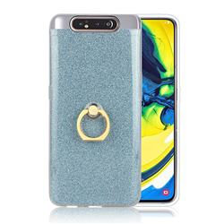 Luxury Soft TPU Glitter Back Ring Cover with 360 Rotate Finger Holder Buckle for Samsung Galaxy A80 A90 - Blue