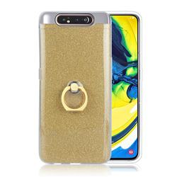 Luxury Soft TPU Glitter Back Ring Cover with 360 Rotate Finger Holder Buckle for Samsung Galaxy A80 A90 - Golden